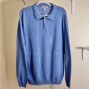 Eddie Bauer 1/4 Button Sweater Blue Sz XXL